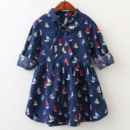 $enCountryForm.capitalKeyWord Australia - Spring New Kids Dress Trade Coloured Sailing Boat Printed Bow Long Sleeve Dresses Casual Cartoon Kids Beautiful Princess Dresses