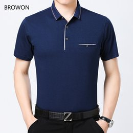 casual summer t shirt NZ - BROWON Size M-3XL New Short Sleeve T-shirt Men Casual Solid Color Turn-down Collar Slim Tshirt Men for Summer Cotton Tops T200528