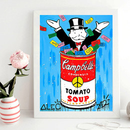 Cartoon Tomato UK - Campbells Tomato Soup Alec Monopolyingly Canvas Paintings for Living Room Poster Modern Picture on The Wall Home Decoration