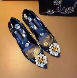 $enCountryForm.capitalKeyWord NZ - Fashion Sexy pointed toe thin heel slip on femamle stiletto shoes luxury bling crystal decor flower print sexy wedding pump blue