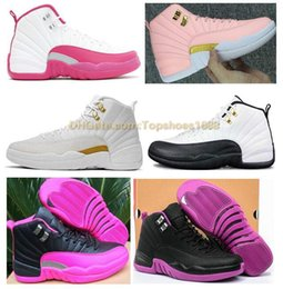 1d765a05f676ab High Quality Women 12 12s GS Hyper Violet Youth Pink Valentines Day  Basketball Shoes Girls The Master Taxi Rush Pink Sneakers Size 30-40