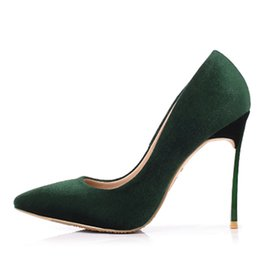 $enCountryForm.capitalKeyWord Australia - Sexy High Heel Shoes Pointed Toe Velvet Woman Pumps Metal Stiletto Heels Green Slip-on Women Party Dress Shoes