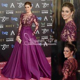 Zuhair murad long back online shopping - 2019 Burgundy Zuhair Murad Red Carpet Evening Dresses Long Sleeve Beads Applique Sheer Illusion Bodice Formal Prom Gowns Party Dressess