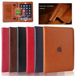 High-grade de couro genuíno cobertura de proteção integral case para apple novo ipad 9.7