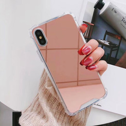 acrylic mirror phone case 2019 - Luxury Acrylic Mirror Phone Cases Airbag Anti-Falling Back Cover Protector for iPhone X XR XS Max 6 6s 6plus 7 7plus 8 8
