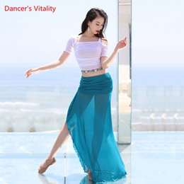 elegant women suits long skirt UK - Belly Dance Summer Suit Female Adult Sexy Top Practice Clothes Elegant Shirt Water Yarn Profession Performance Long Skirt Set