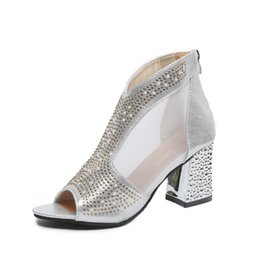 bridal peep toe heels Australia - Fashion Slip On Women Bling Pumps Platform High Heels Shoes Lady Peep Toe Square Zip Heel Dress Shoes Sexy Wedding Bridal