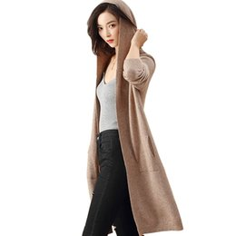hooded knitted cardigan women NZ - Autumn Winter Thin Hooded Cashmere Sweater Women Long Knitted Cardigan Long Sleeve Split Pocket Loose Elegant Outerwear Casual SH190928