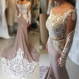Short White Pearl Prom Australia - 2019 Sexy Prom Dresses Jewel Neck Illusion Long Sleeves White Lace Appliques Pearls Sashes Sweep Train Mermaid Evening Dresses Party Gowns