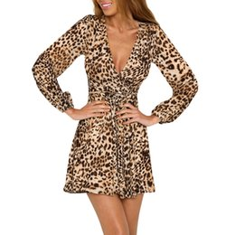 $enCountryForm.capitalKeyWord NZ - Sexy Summer dress Women Ladies Leopard Print Long Sleeve Deep V Neck party Dress 2019 New fashion Ukraine robe femme vestidos