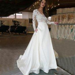 $enCountryForm.capitalKeyWord Australia - Custom made a line wedding dresses Long Sleeve Satin Dress V Neck Lace Appliques Wedding Gown with Pocket Plus size Bride Dress
