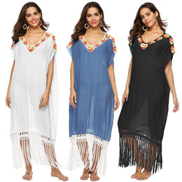 Discount flower swim wear - Crochet Flower Beach Wear Bikini Cover Up Tassel Summer Tops Tunic Women Short-Sleeve V-neck Swim Wear Beach Long Dress