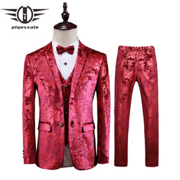 Silver Red Blue Floral Suit Men 2019 High Quality 3 Pieces Mens Wedding Suits 4XL 5XL Nightclub Costume Stage Printed Suit Q416