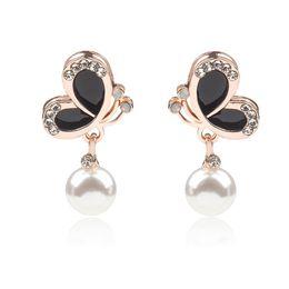 Korean ear studs online shopping - Butterfly Earrings Korean Jewelry Exquisite Blue Butterfly Stud Earrings Lady brides Ear Pearl Earrings