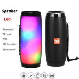 portable usb flash NZ - TG157 LED Light Flash Wireless Bluetooth Speaker Portable Column Outdoor Speaker 10W Subwoofer With MIC Support FM Radio TF USB Music Player