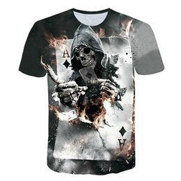 418e882b7 New Mens Summer Skull Poker Print Men Short Sleeve T-shirt 3D T Shirt  Casual Breathable T-shirt Plus-size Punk Cool Tee
