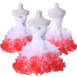 $enCountryForm.capitalKeyWord Australia - Sweetheart Neckline Three-ton Ruffled Organza Short Graduation Dresses with Beads Corset Back Party Dress Custom