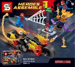 Toy Ghosts Australia - 248pcs Super Heroes Building Blocks Spider-Man Ghost Rider Team-UP With Motorcycle Bricks Kids Gift Toys For Children