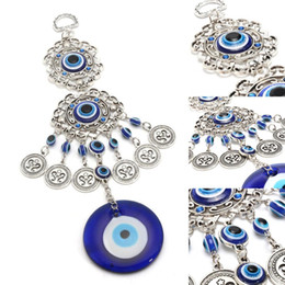 home decor bamboo wall UK - Wind Chimes Turkey Evil Eye Pendants Amulet Home Wall Hanging Decor Blessing Protection Gift Dream Catcher Blue Rhinestone Other Home Decor