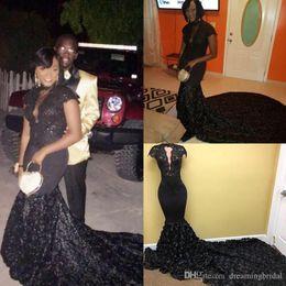 $enCountryForm.capitalKeyWord Australia - Vintage Black Sweep Strain Mermaid Prom Dresses 2018 New Lace Applique Illusion Short Sleeve High Neck Formal Evening Gowns Party Dress