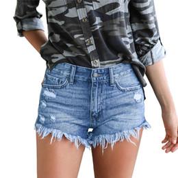 b10a4ff9d6e3bf NORMOV Kurze Jeans Damenmode Hohe Taille Lässige Denim Shorts Frauen Sommer  Loch Zerrissene Kurze Jeans Sexy Schwarze Hotpants