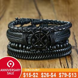 $enCountryForm.capitalKeyWord Australia - Vnox Mix 4Pcs  Set Braided Wrap Leather Bracelets for Men Women Vintage Wooden Beads Ethnic Tribal Wristbands Bracelet Rudder
