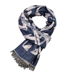cotton scarves soft long Australia - Guttavalli Men British Style Long Cotton Wrap Nice Chevron Striped Letters Geometric Scarf Double Layers Soft Leisure Shawl