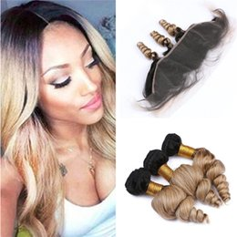 $enCountryForm.capitalKeyWord Australia - Black and Honey Blonde Ombre Wavy Human Hair Bundles with Lace Frontal Closure 1B 27 Dark Roots Loose Wave Weaves with Frontals