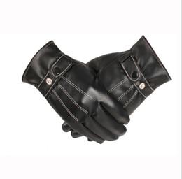 $enCountryForm.capitalKeyWord Australia - Free Ostrich Gloves Men Winter Leather Black Gloves Button Warm Mittens Luxurious PU Leather Driving Men's Genuine