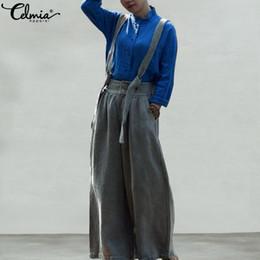 bed6f85c03a1f9 wholesale Vintage Women Jumpsuit Summer Casual Sleeveless Linen Playsuit  Strap Rompers Wide Leg Pants Plus Size Overalls Femme 2019