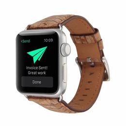 Leather Bracelets Watch For Men Australia - Watch Bands for iwatch 38mm 42mm For Apple Smart Watch Women Men Wood Grain Genuine Leather Strap Bracelet Replacement Business Casual Style
