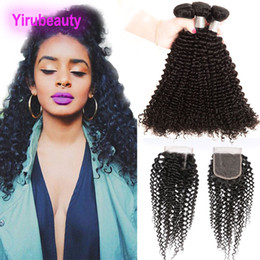kinky curly bundles closure NZ - Malaysian 3 Bundles With 4X4 Lace Closure Kinky Curly Human Hair Wwefts With Top Closures Kinky Curly 95-100g piece Hair Extensions