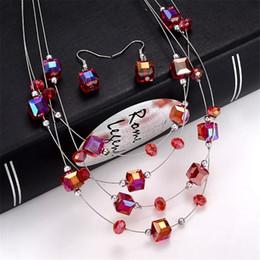$enCountryForm.capitalKeyWord Australia - Fashion Pink Crystal Cube Beads Jewelry Set Joker Bohemian Crystal Champagne Beads Multi layer Necklace Wedding Bridal Jewelry Set