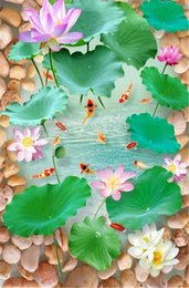cobblestone flooring NZ - Customized Cobblestone Lotus Trout Pool 3D Floor Mural
