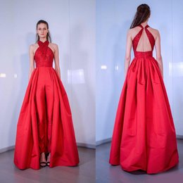 Training Jumpsuits Australia - 2019 Red Jumpsuits Women Prom Dresses New Halter Satin Women Jumpsuits With Long Train Evening Gowns Formal Party Dress robes de soirée