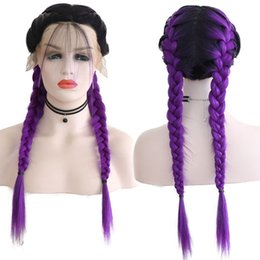 Glueless Wig Braids For Australia - Natural Hairline Purple Color Braids Synthetic Lace Front Wigs With Baby Hair 180% Density Glueless Ombre Color Braids Wigs For Sexy Women
