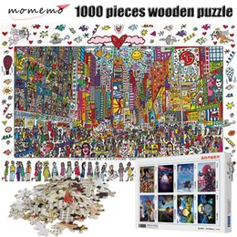 painting puzzles Australia - MOMEMO Times Square Puzzle 1000 Pieces Cartoon Painting Adult Puzzle Wooden Puzzle 1000 Pieces Puzzles Children Christmas Toys Y200421