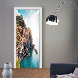 $enCountryForm.capitalKeyWord Australia - Beautiful View 3D Effect Cliffs Seaside Scenery Door Sticker DIY Vinyl Decal Art Waterproof Removable Living Room Bedroom Home Decorative