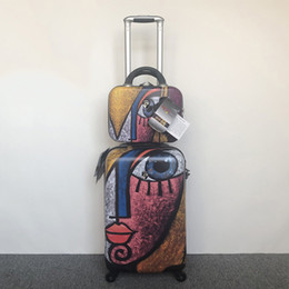 Pc 13 Australia - Abstract art! Foreign trade original export US pure PC brand trolley suitcase 20 inch rolling luggage with 13 inch cosmetic case