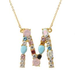 $enCountryForm.capitalKeyWord NZ - Exknl Multicolor fashion charm Gold 26 Alphabet pendant necklace micro pave zircon initial letter necklaces Couple Name necklace