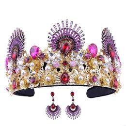 Discount bride tiara jewelry sets - Vintage Pearl Crystal Rhinestone Tiaras and Crowns Bride Noiva Diadem Headpiece Earrings Wedding Bridal Jewelry Sets Acc