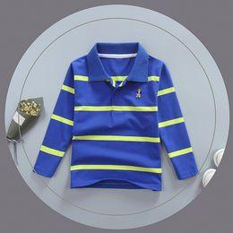 Children White Tees Australia - good quality Boys Cotton T-shirt Kids Casual Turn-Down Collar Long Sleeve Tops For Baby Boys Children Striped Spring Autumn Tees
