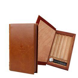 Books Spanish Australia - Pure leather travel humidor Spanish case of cedar wood book shape Humidor with hygrometer cigar cutter humidifier ... gift box