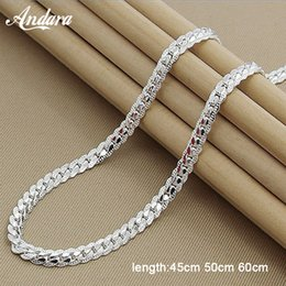 Silver chain for men 6mm online shopping - Price MM Full Sideways Necklace for Women Men Sterling Silver Jewelry Snake Chain Necklaces