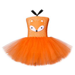 cute girl costumes for halloween Canada - Orange Fox Girls Tutu Dress Cute Girls Birthday Party Dresses Crazy Zoo Animal Nick Cosplay Carnival Halloween Costume for Kids
