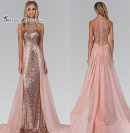 $enCountryForm.capitalKeyWord Australia - 2019 Rose Gold Sequined Bridesmaid Dresses With Overskirt Train Illusion Back Formal Maid Of Honor Wedding Guest Party Evening Gowns