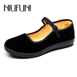 Beijing Shoes Canada - 2019 Dress Black Color Soft Mother Old Beijing Cloth Shoes 2018 Casual Buckle High Heels Shoes Roud Toe Platform Comfortable Wedges Shoes