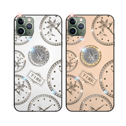 tempered glass iphone watch UK - Fashion Diamond Watch Design Kickstand Tempered Glass Case For iPhone 11 Pro Max XS Max XR X 8 7 6S 6 Plus