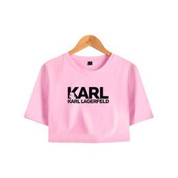 $enCountryForm.capitalKeyWord UK - Karl Famous Designer Navel Women Short Sleeve T-shirt Hip Hop Pullover Sexy Clothes Summer Fashion Summer Outwear