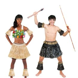 $enCountryForm.capitalKeyWord Australia - 5pcs set Adult African Savage Hawaiian Dance Costumes Women Hula Skirt Hawaiian Party Clothing Dress Beige Black Decorations